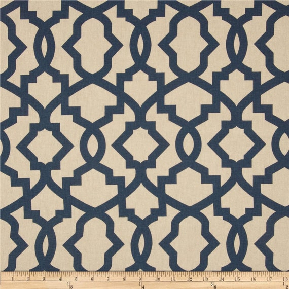 Items Similar To Navy Blue Beige Linen Sheffield Trellis Curtains   Rod  Pocket   84 96 108 Or 120 Long By 25 Or 50 Wide   Optional Blackout Or  Cotton Lining ...