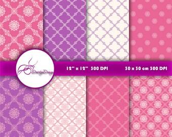 SALE Pink purple damask digital paper Wedding, pink damask digital backgrounds patterns clipart, instant download 330