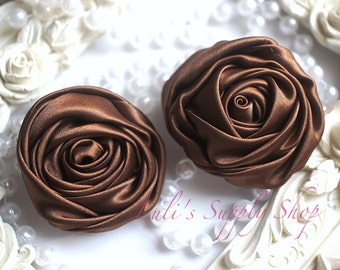 "2"" Large Satin Ribbon Roses - Set of Two - Rolled Rosettes - Brown Satin Rolled Rosettes - Large Satin Roses - Brown Satin Flowers"