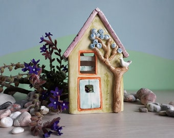 ceramic little house-ceramic lantern-naive little house-handmade little house-candy-box little house-candle-holder