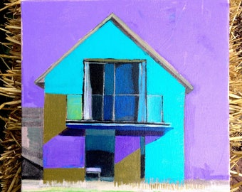 This new house, original painting of a house, home, architectural painting, facade, gallery wrapped, landscape painting, acrylic