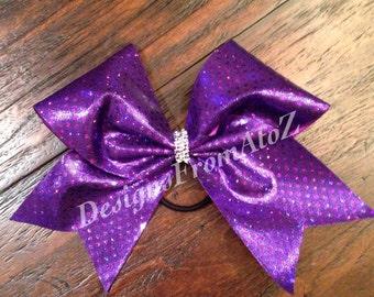 Purple Sparkle Cheer Bow