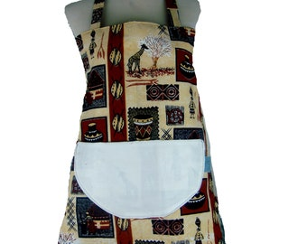 In African fabric 2 1 apron