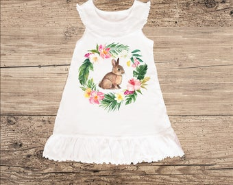 Bunny Dress with Tropical Wreath