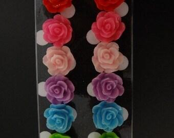 Large Rose Earring Set