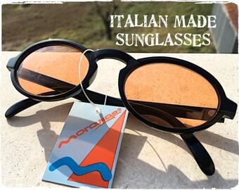 Occhiali da sole uomo donna tondo ovale nero lente arancione, Sunglasses oval round glossy black orange lens, vintage hipster Made in Italy