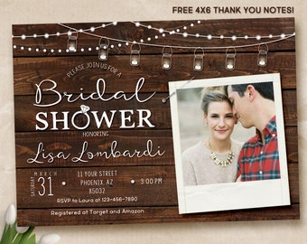 Rustic Bridal Shower Invitation, Rustic Invitation, Country invitation, Bridal Shower Invitation, digital