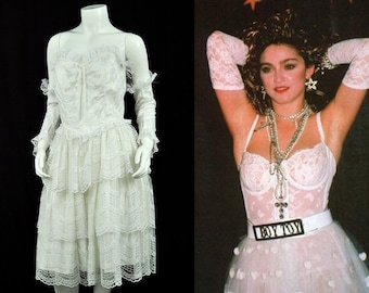80's White Lace Strapless Dress/White Madonna Bride// 80's Prom Party // Small W-28