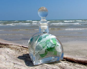 Vintage Bottle with Sea Glass