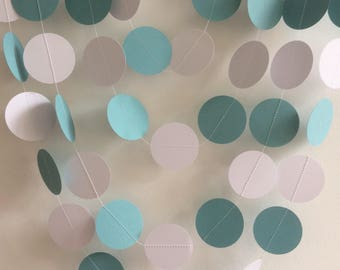 Pastel Blue and White Circle Garland, Decor, Party Decor, Baby Showers, Weddings, Celebrations,