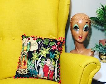 Frida Kahlo, Pillow with Pom Poms, Frida, Mexican Art, Mexican Artist, botanical, garden, cactus