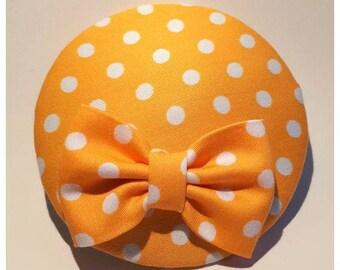 Polkadot headpiece, little yellow hat, white polkadots