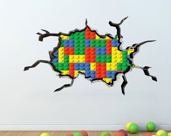 Exceptional Wall Decals Stickers Full Colour Building Blocks Coloured Bricks 3d Wall  Art Sticker Mural Decal Graphic Boys Bedroom Wall Stickers WSD52
