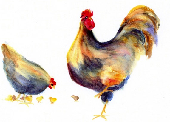 Kathy's Flock - print - watercolor print - signed print - art - Bonnie White - chicken - chickens - chicks - hens - roosters - farm animals