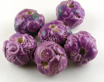 Purple Bumpy Beads, Purple Ceramic Beads, Purple Stoneware Beads, Blue accent beads, flower beads, fossil beads, organic beads, set of beads