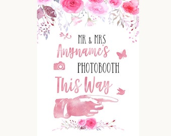 Pink Watercolour Floral Photobooth This Way Right Personalised Wedding Sign