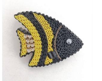 Cardboard fish brooch