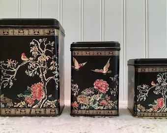 Chinoiserie Nesting Tins - Black Asian Design - Virojanglor Paris France - 1960s Decor - Large Tins - Bird Design Black Red