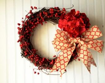Valentine day wreath, valentine wreath, valentines day decor, red wreath, red berry wreath, front door wreath, door wreath.