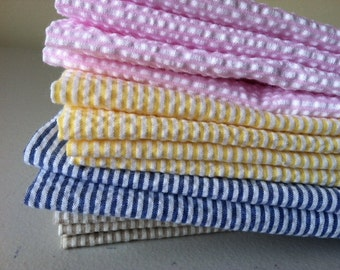 SEERSUCKER Cloth Cocktail Napkins, Wine, Cheese, Hors d' oeuvres, Appetizer, Set of 6, by Chow with ME