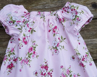 Girl's Infants Toddlers Light Pink Shabby Chic Floral Peasant Dress - Family Pictures - Photo Shoot