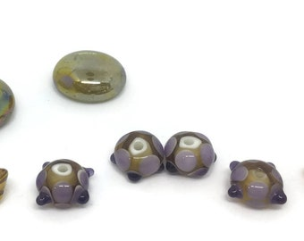 Lampwork Glass Beads - Light Topaz and Lavender
