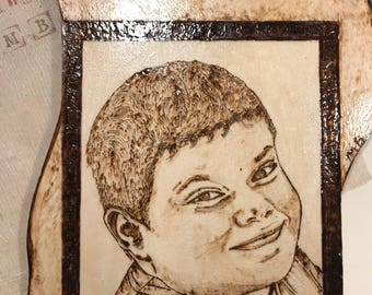 Portrait in wooden pyrography on order