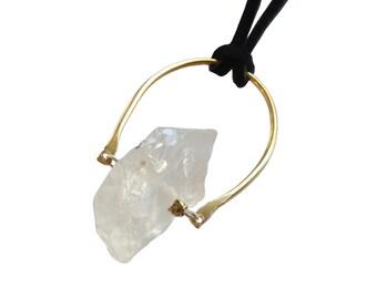 Quartz Crescent Necklace; Brass Crescent Necklace; Gemstone Necklace; Quartz Necklace; Quartz Jewelry; Gemstone Necklace; Leather Necklace