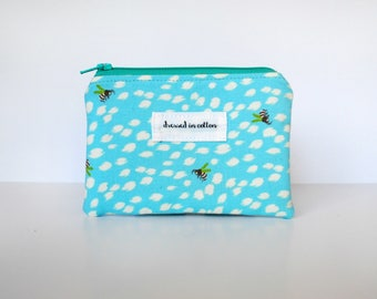 Blue Coin Purse With Bees, Pale Blue Change Purse, Card Wallet, Turquoise Zipper, Polka Dot Lining, Small Zipper Bag