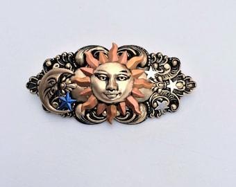 Sun Moon & Stars Hair Barrette, Celestial French Hair Barrette, Sun Hair Clip, Moon Hair Clip, Stars barrette