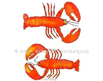 Fresh Maine Lobsters 8x10 kitchen art print