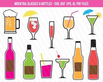 Mocktail Glasses SVG, Bottle Svg, Glass clipart, Drink svg, Beer mug svg, Mocktail clip art, Party vector - Svg, Dxf, Ai, Pdf, Eps Files
