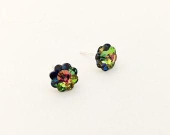 Tiny swarovski crystal flower sterling silver stud post earrings