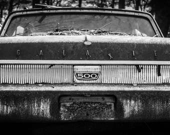 Ford Galaxie Black and White Fine Art 12x36 Panoramic Print, Junkyard Car, Old Car, Vintage Car, Fine Art Photograph, Rusty Car, Ford Galaxy