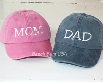 MOM and DAD Hats, Set of 2 Adams Caps, Pregnancy Announcement Hat, Baby Announcement Baseball Caps
