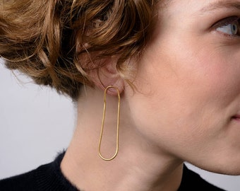 Gold Chain Earrings,Gold Loop Earring,Gold Chain Stud Earring,Long Gold Thread Earrings,Unique Threader Earrings,Gold Chain Loop Earrings