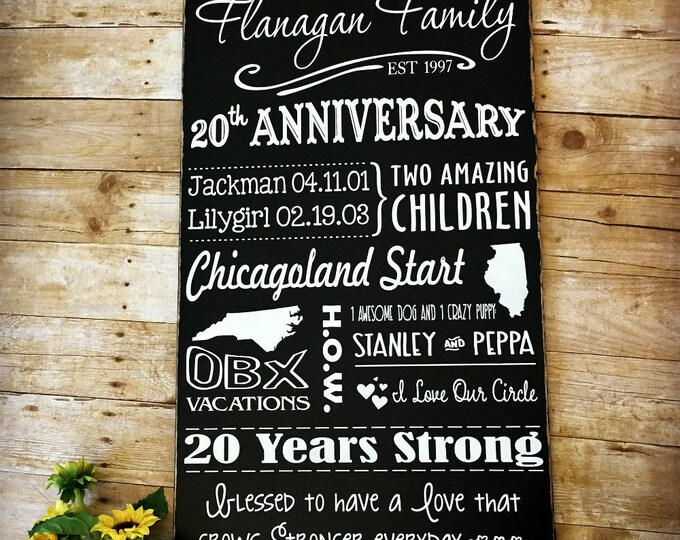 20 Year Anniversary Storyboard, Keepsake for Her, Anniversary Sign, Family Story Sign, 20th Anniversary