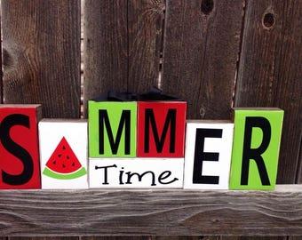 Summer wood blocks-Summer time watermelon (Bright)