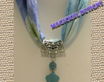 Blue Petals - Scarf Jewelry - string this pendant on your favorite scarf to bring spring-time fashion