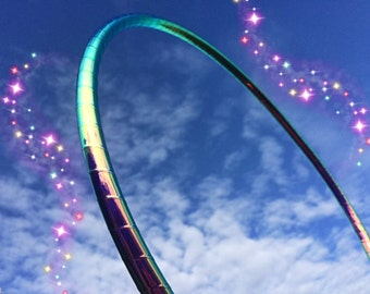 "Wonderiffic Morph HDPE or POLYPRO Performance Dance & Exercise Hula Hoop - color changing 5/8"" 3/4"" purple teal green"