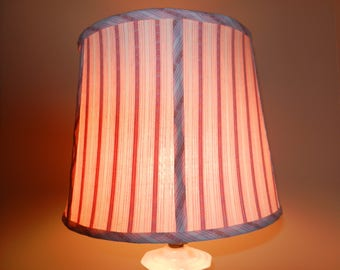 Vintage Striped Pink Fabric Spider Shade with White Satin Lining