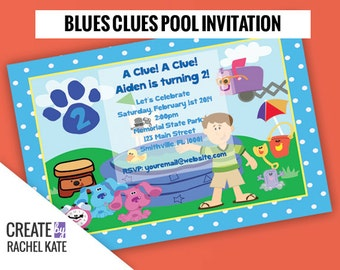 Blues Clues Birthday Pool Party Personalized Printable Invitation (Blue, Pink or Custom)