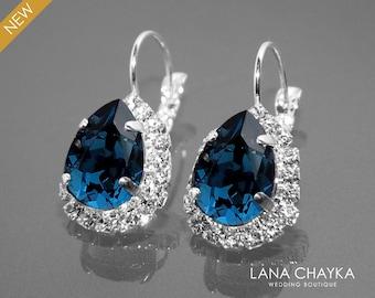 Navy Blue Crystal Halo Earrings, Swarovski Montana Rhinestone Silver Earrings, Dark Blue Leverback Earrings Wedding Bridal Navy Blue Jewelry