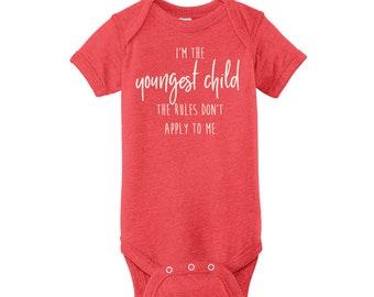 Sibling Birth Order Infant Onesie T-Shirt | Youngest Sibling Onesie | Personalized Onesie
