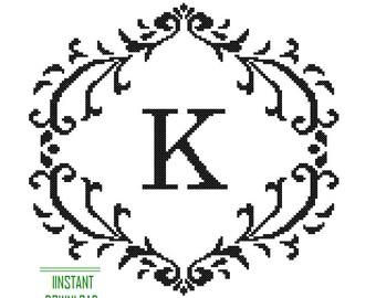 Instant Download Cross Stitch Pattern Monogram black Monogram Initial Alphabet K letter K Gift Home Decor House Warming Wedding Anniversary