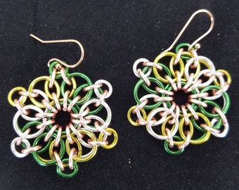 Green Gold and Silver Celtic Sunburst Chainmaille