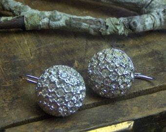 Sarkling Vintage flapper style Rhinestone studded dangle Orbs Pave diamond crystal rhinestones Gatsby Daisy Buchanon pierced ears
