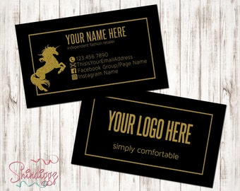 Custom Business Card, Business Card Design, Independent Consultant, Black, Gold, Glitter, Unicorn, Independent Retailer, Inspired by LLR