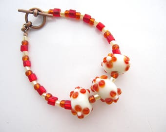 Girl's Bracelet, Orange Lampwork Beads, Flower Lampwork Bracelet, White and Orange