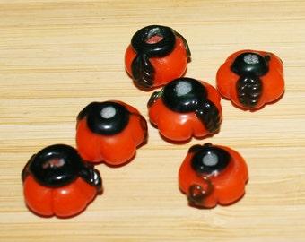 Set of (6) Lampwork Glass Pumpkin Beads. Halloween, Seasonal